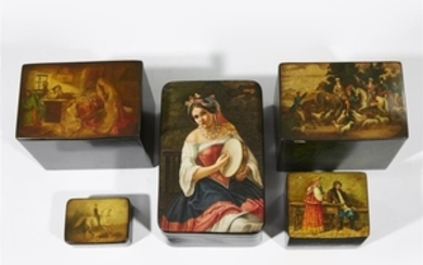 A group of five Russian lacquer boxes Vishnyakov Factory,...