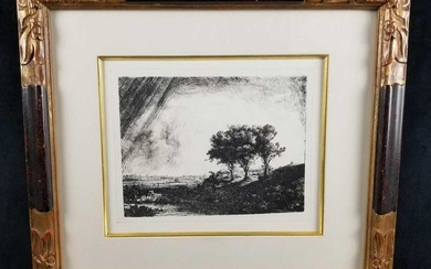 The 3 Trees Framed Etching By Rembrant H Van Rijn