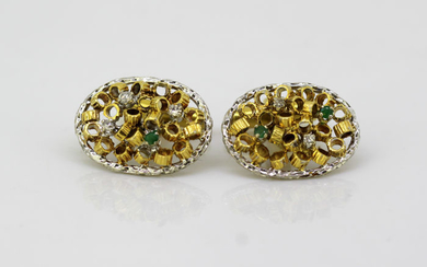 Other - 18 kt. Yellow gold - Cufflinks - Diamonds, Emerald