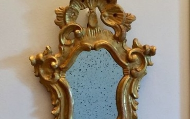 Ancient Venetian holy water stoup in carved and gilded wood with Mercury mirror - Rococo - Wood and gold leaf - 1750 approx