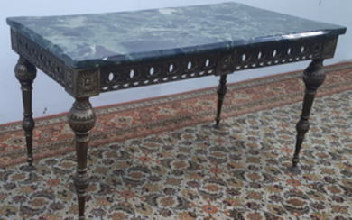 LOUIS XVI STYLE LOW TABLE WITH VERDE MARBLE TOP