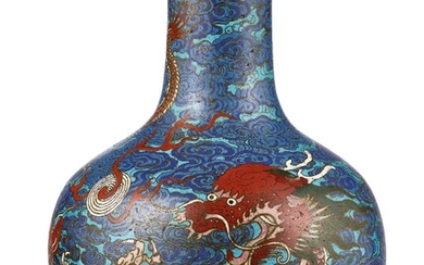 A MAGNIFICENT AND RARE LARGE CLOISONNE ENAMEL 'DRAGON' TIANQIUPING QING DYNASTY, 18TH CENTURY