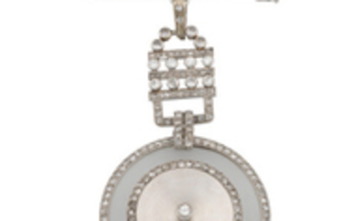 Cartier. A white gold and diamond set keyless wind pocket watch with brooch