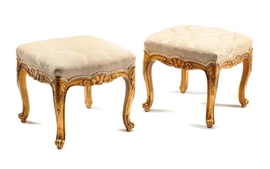 A Pair of Louis XV Style Giltwood Benches