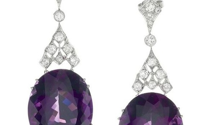 Pair of Russian Amethyst and Diamond Earrings
