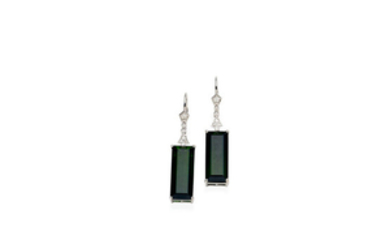 A pair of tourmaline and diamond pendent earrings