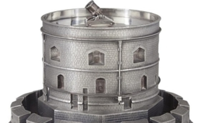 An unusual Victorian sterling silver cooler in the form...