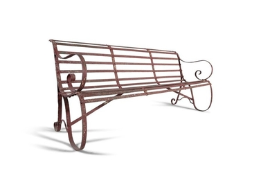 A WROUGHT IRON GAREN BENCH, with scroll side suppo…