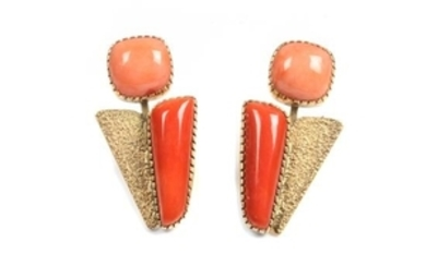 Gail Bird (b. 1949) and Yazzie Johnson (b. 1946), Pair of 18 Karat Yellow Gold and Coral Earclips