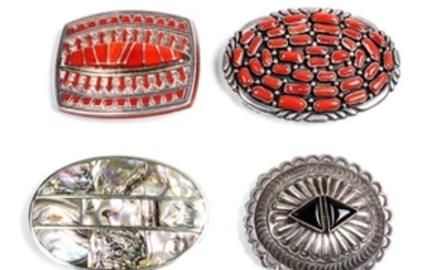 Two Southwestern Silver and Coral Belt Buckles