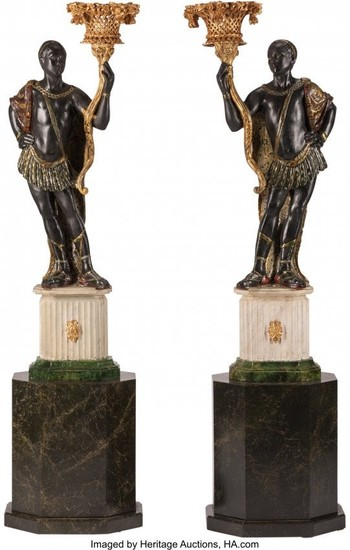 74341: A Pair of Venetian Carved and Painted Wood Black