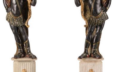 A Pair of Venetian Carved and Painted Wood Blackamoors (Late 19th century)
