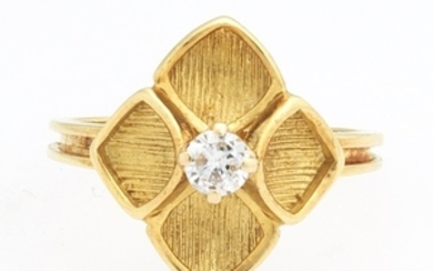 Ladies' Gold and Diamond Floral Ring
