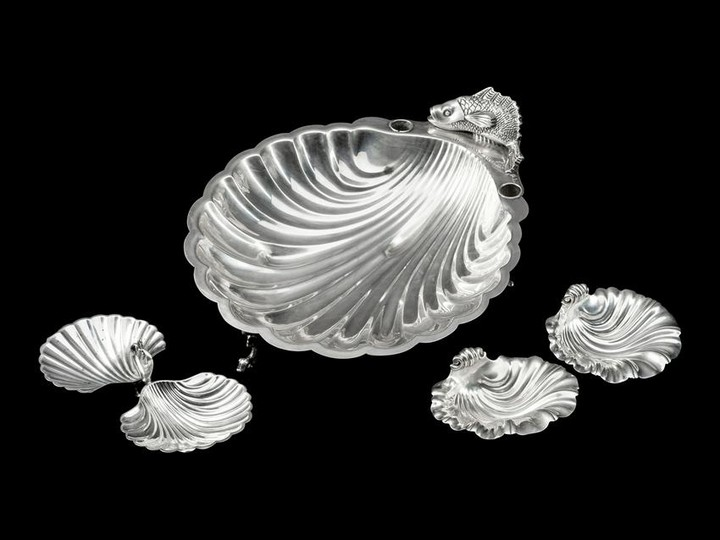 A Group of Three Silver and Silver-Plate Shell-Form