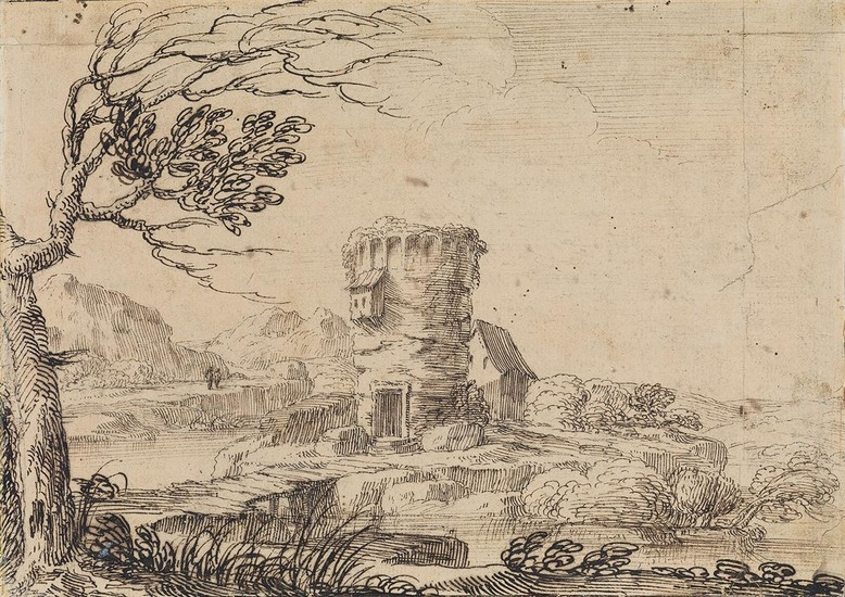 GIOVANNI FRANCESCO GRIMALDI (Bologna 1606 1680 Rome) A Landscape with a Tower.