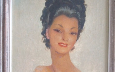 JEAN G. DOMERGUE - Mademoiselle avec cheveux brune, first half 20th century;