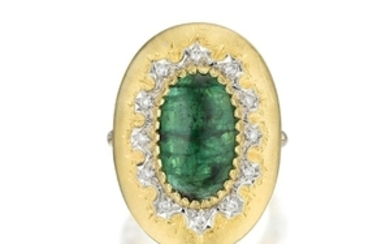 A Large Emerald and Diamond Ring, Italian