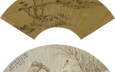 SCHOLAR ON A BOAT, READING UNDERNEATH AUTUMN TREE, Huang Yue 1750-1841, Ni TIan 1855-1919
