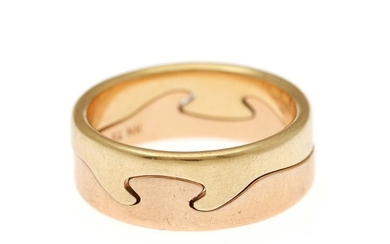 "Nina Koppel: A ""Fusion"" ring of 18k gold and rose gold. Total weight app. 10.5 g. Size 56. For Georg Jensen after 1945. (2)"