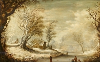 Gysbrecht Leytens, Winter Landscape with Ice Fishers