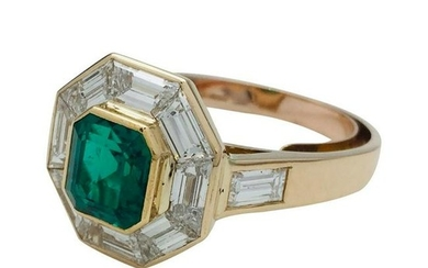 Yellow Gold Mellerio Engagement Ring, Emerald and