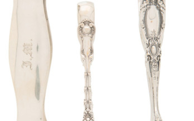 A Group of Three Pairs of Silver and Tongs (late 19th-early )