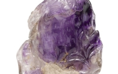 AN AMETHYST 'FINGER CITRON' CARVING QING DYNASTY, 18TH/19TH CENTURY