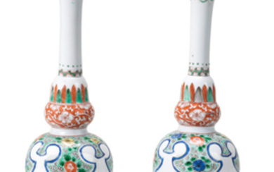 A pair of famille verte double-gourd vases