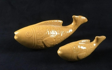 2 Foreside Home and Garden Ceramic Yellow Fish