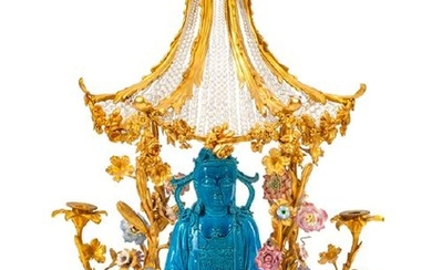 A Louis XV Style Porcelain and Gilt Bronze Pagoda