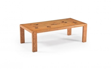An oak and marquetry coffee table