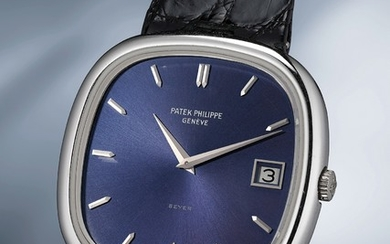Patek Philippe, Ref. 3604 A very elegant and masculine cushion-shaped white gold wristwatch with blue dial, box and original guarantee
