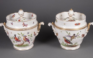 Polychrome Gilt Porcelain Fruit Coolers