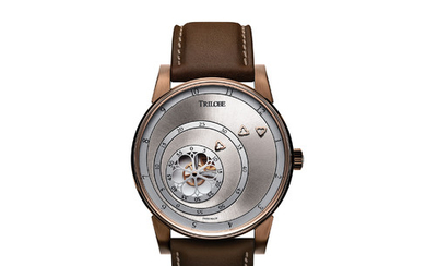 "TRILOBE ""LES MATINAUX"" ONLY WATCH EDITION 2019 Trilobe reveals its bronze edition that compresses life challenges into prose from René Char engraved at the back. A conceptual reversal, featuring the X-Centric Module, with three rotating rings: the...,"
