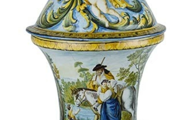 Vase with lid Large, bell-shaped, very tapered parade vase, slightly...