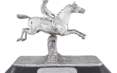 A Victorian silver and silver-plated figural equestrian trophy, 'Essex...