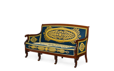 An Empire Needlepoint Upholstered Mahogany Settee