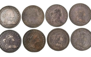 Group of Eight Draped Bust Silver Dollars