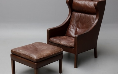 Børge Mogensen. Wing chair as well as a stool, model 2204 and 2202 (2)
