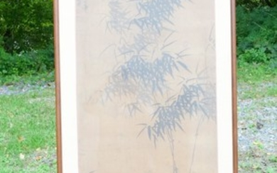 Estate Found Signed Asian Painting on Silk Bamboo in Landscape FR3SHMA