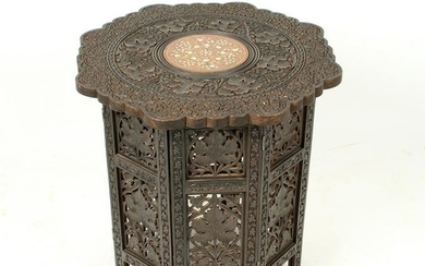 WOODEN INDIAN HINGED SIDE TABLE
