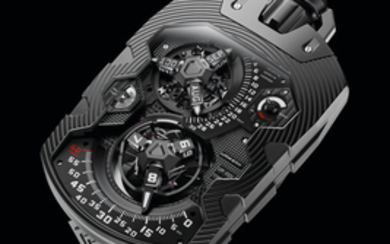 """Urwerk's Masterpiece"" Urwerk. An Exceptionally Rare, Limited Edition AlTiN Coated Stainless Steel Automatic Annual Calendar Watch with Revolving Satellite Hour and Month Displays, Retrograde Minutes and Date, Day-Night, Power Reserve Indication, ""Oil..."