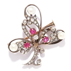 ANTIQUE RUBY, PEARL AND DIAMOND BROOCH, ASPREY in