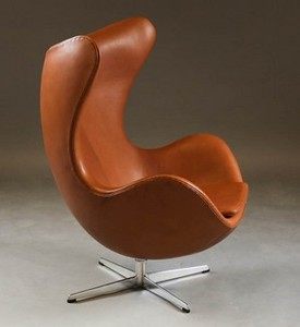 Egg Chair Cognac.Lot Art Arne Jacobsen Lounge Chair The Egg With Cognac