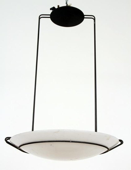 MODERN IRON AND GLASS LIGHT FIXTURE CIRCA 1980