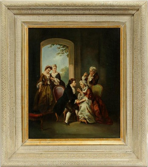 "OIL ON CANVAS, H 19"", W 16"", PARLOR SCENE"