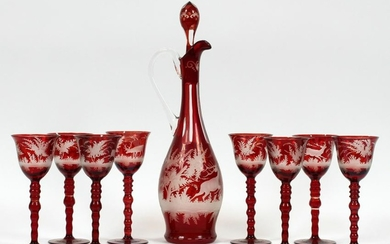 BOHEMIAN ETCHED GLASS WINE DECANTER & GOBLETS