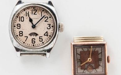 Longines Art Deco 14kt Gold Wristwatch and a Chronograph, square salmon-colored roman numeral dial with sunk seconds, 17-jewel manual-w