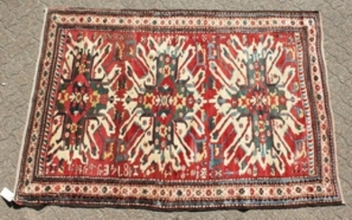 A RARE CAUCASIAN CHELEBERD RUG with Eagle design. 7ft