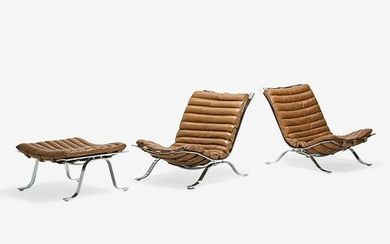 STYLE OF ARNE NORELL Pr. chairs, ottoman